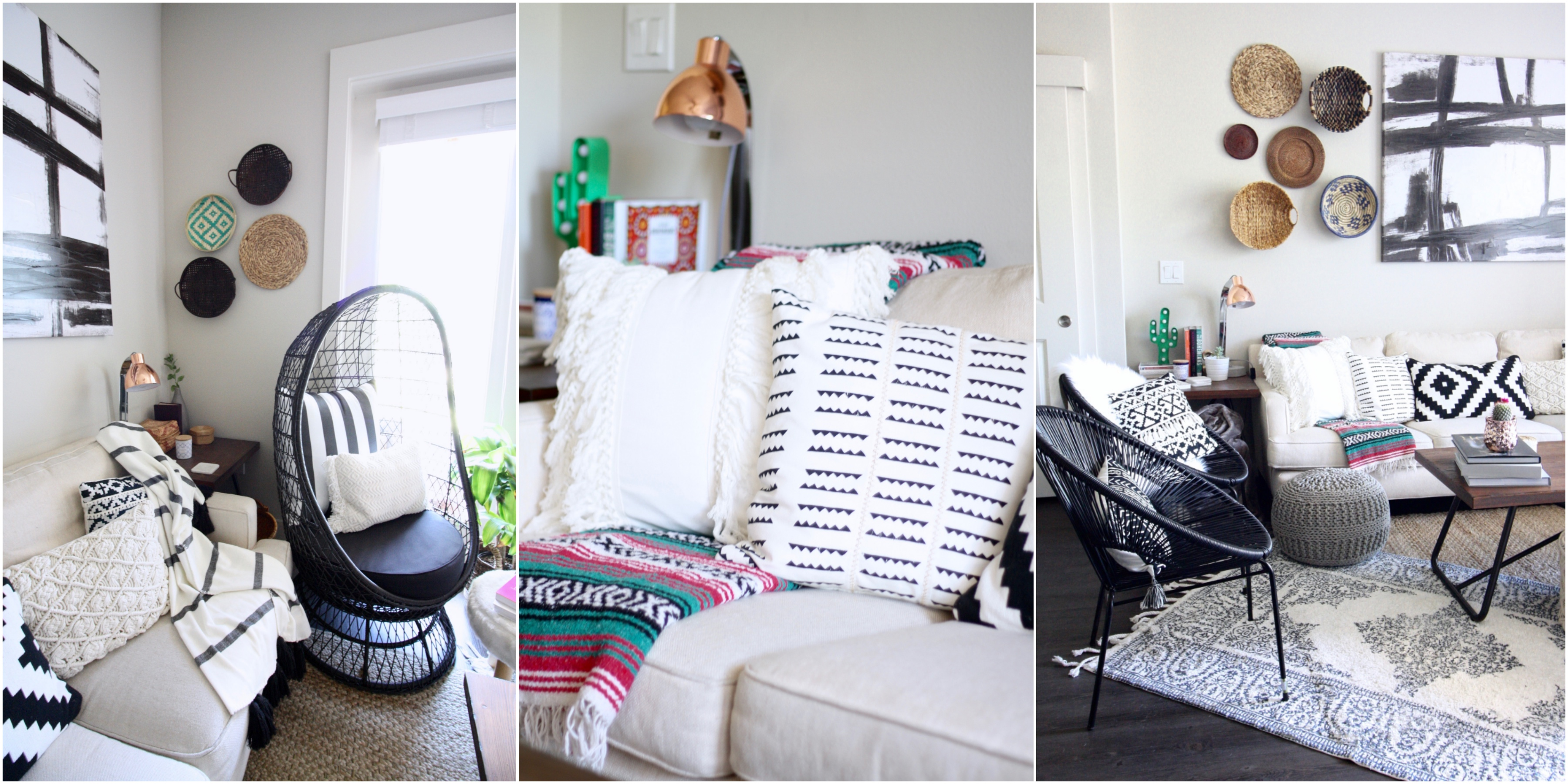 boho home, boho interiors, modern boho, cozy boho, prints and textures