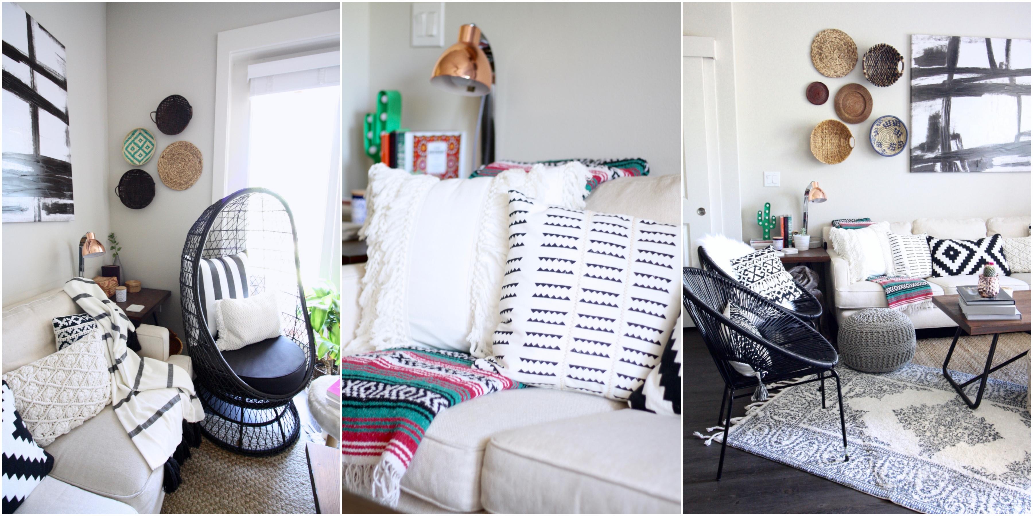 boho home, boho interiors, modern boho, cozy boho, prints and textures