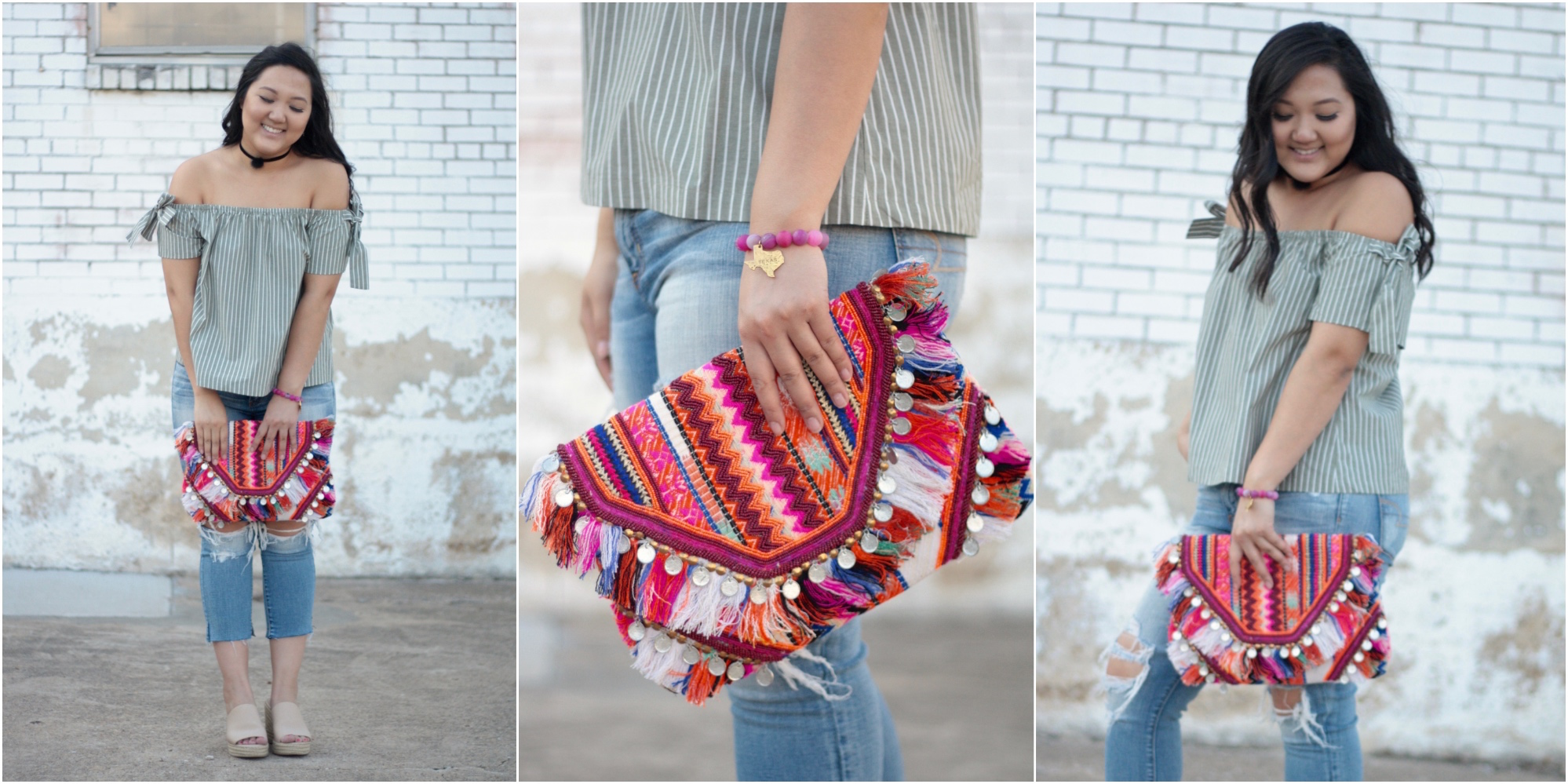 Spring Off the Shoulder Stripe Top and Fringe Clutch