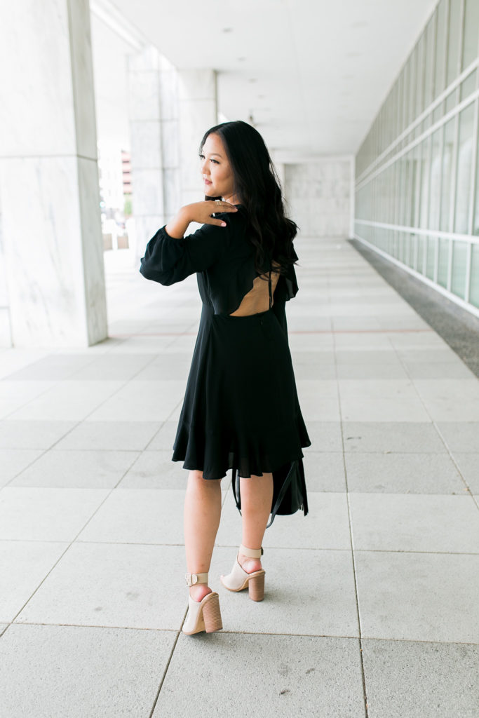 little black dress ruffle hem fall look