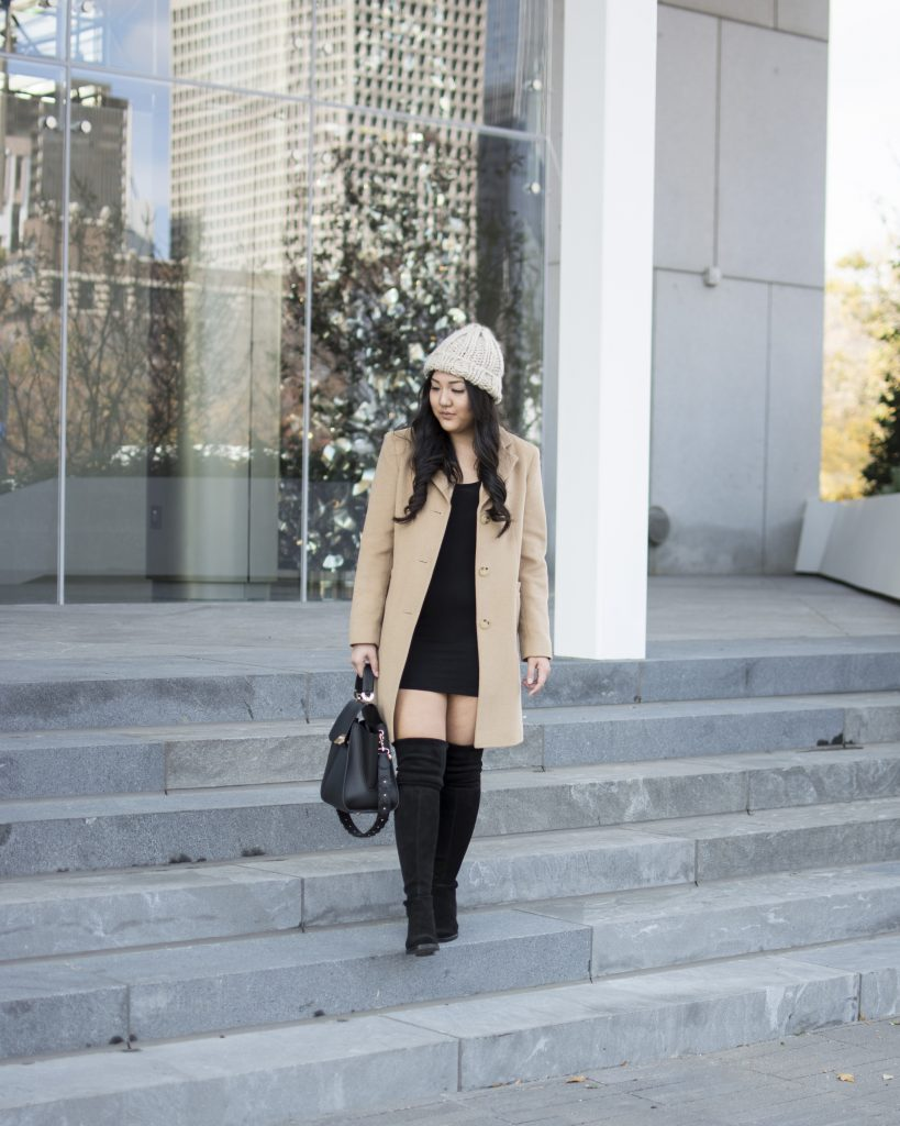 camel-coat-cable-knit-beanie