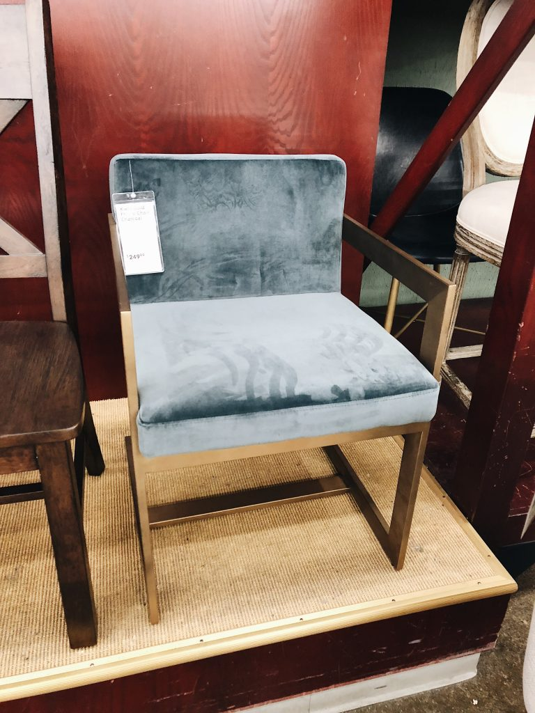 Velvet Blue Gold Accent Chair In the Grey Blog World Market Furniture Sale