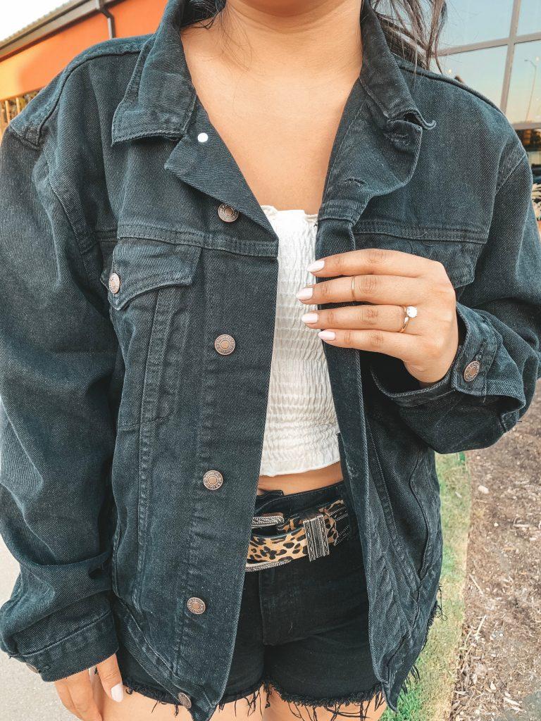 Nordstrom BP Smocked White Tube Top Princess Polly Phoenix Black Denim Jacket Leopard Western Belt Au-Rate New York Stackable Ring Minimalistic Jewelry