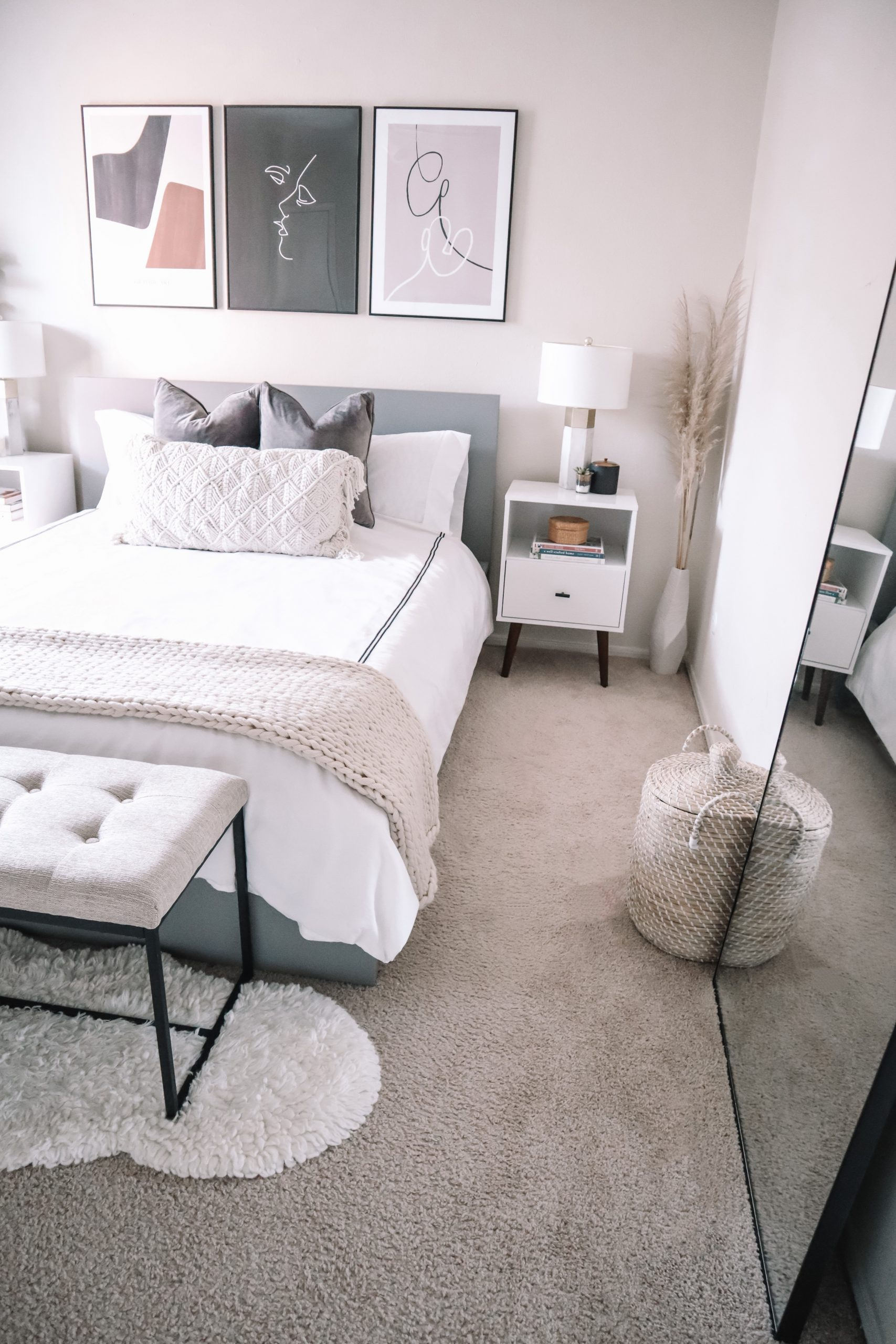 In the Grey Blog Home Tour Bedroom Reveal Boho Modern Neutral Decor Night Stand